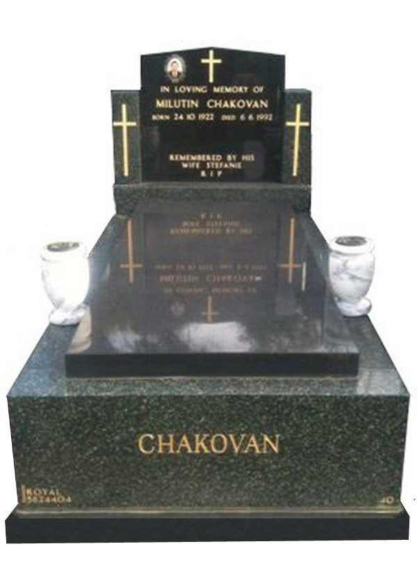 Granite Monument in Midnight Star Black and Royal Black Indian Granite for Chakovan at Springvale Botanical Cemetery