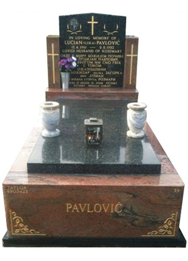 Granite Monument in Multicolour Red and Regal Black (Light) Indian Granite for Pavlovic at Springvale Botanical Cemetery