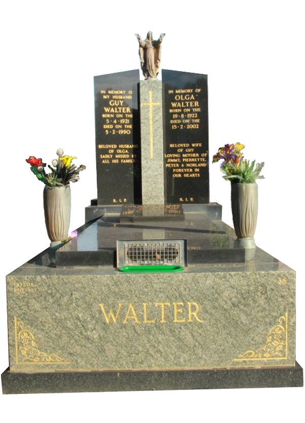 Granite Monument in Multicolour Red and Royal Black Indian Granite for Walter at Springvale Botanical Cemetery