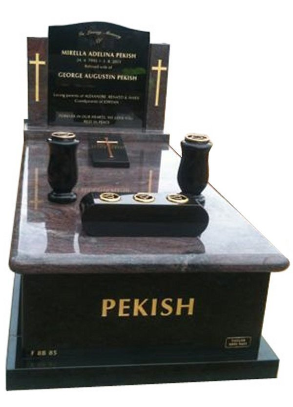 Granite Monument in Paradiso and Royal Black Indian Granite for Pekish at Springvale Botanical Cemetery
