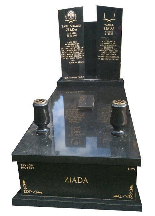 Granite Monument in Royal Black Indian Granite for Ziada at Springvale Botanical Cemetery