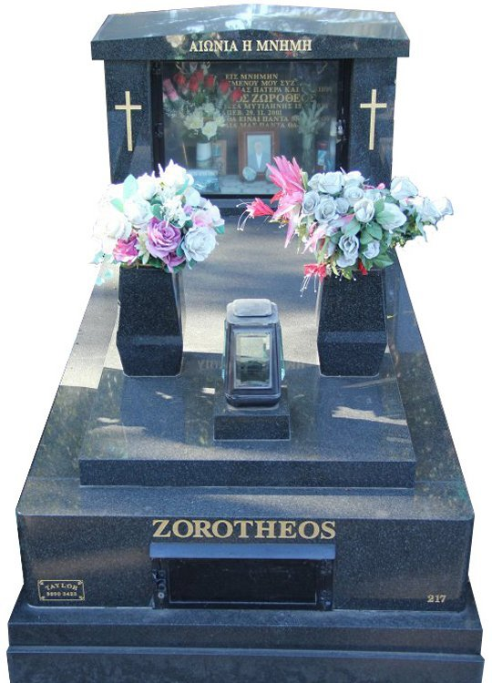 Gravestone Memorial and Full Monument Headstone in Regal Black (Dark) Indian Granite for Zorotheos at Box Hill Cemetery