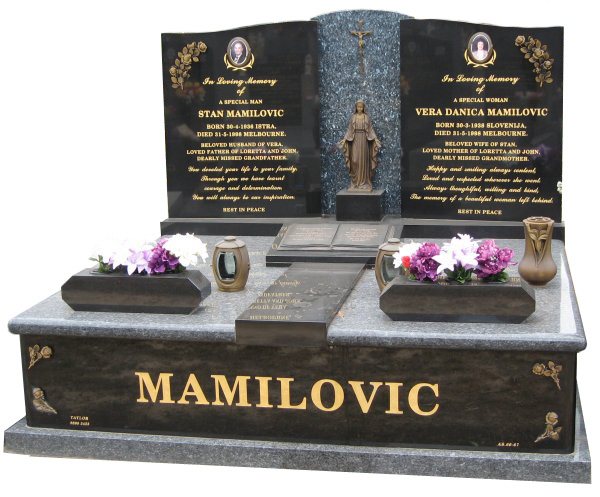 Headstone over Double Monument in Blue Pearl and B G Black Indian Granite for Mamilovic at Springvale Botanical Cemetery