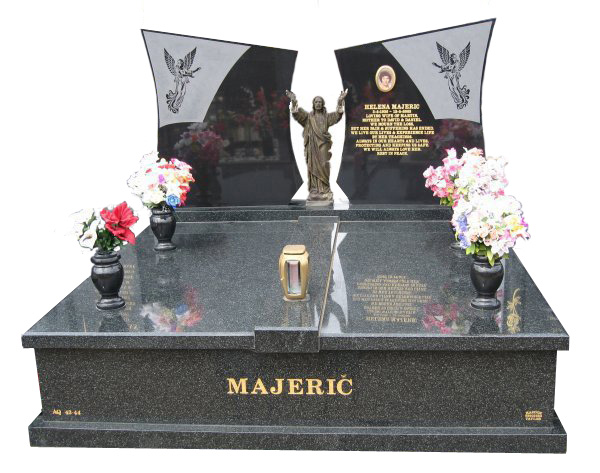 Headstone over Double Monument in Regal Black (Dark) for Majeric at Springvale Botanical Cemetery.