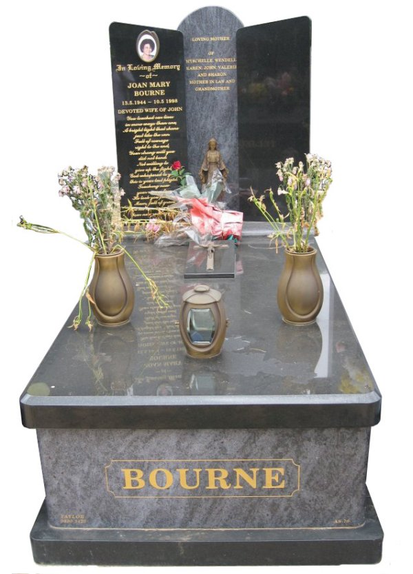 Memorial headstone over full monument in Bahama Blue and Royal Black for Bourne at Springvale Botanical Cemetery.