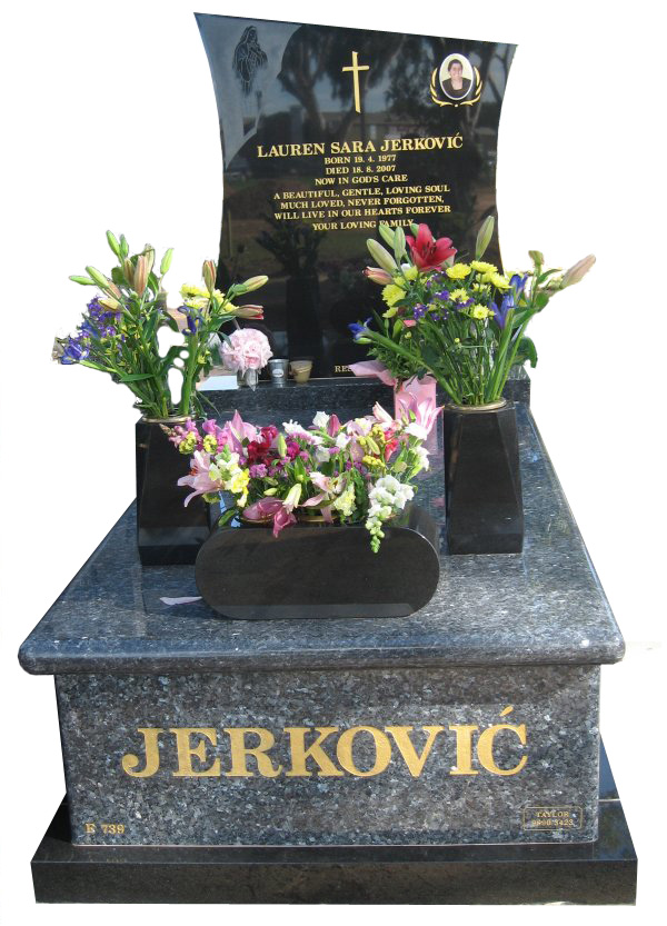 Memorial headstone over full monument in Blue Pearl and Royal Black for Jerkovic at Werribee Cemetery.