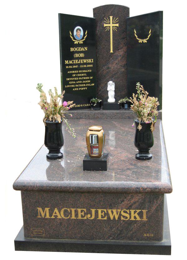 Memorial headstone over full monument in Dakota Mahogany and Royal Black for Maciejewski at Springvale Botanical Cemetery.