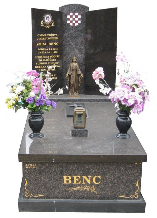 Memorial headstone over full monument in New Mahogany and Royal Black for Benc at Springvale Botanical Cemetery.