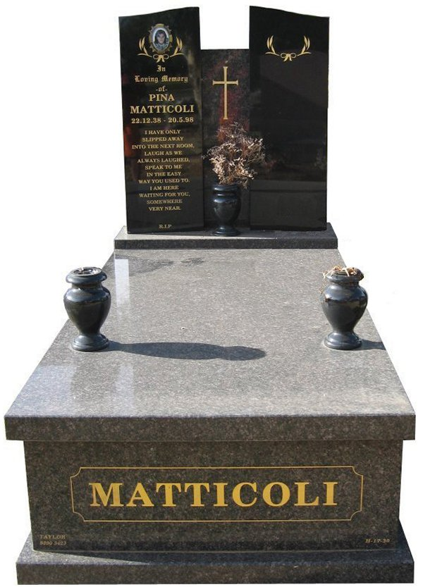 Memorial headstone over full monument in New Mahogany and Royal Black for Matticoli at Springvale Botanical Cemetery