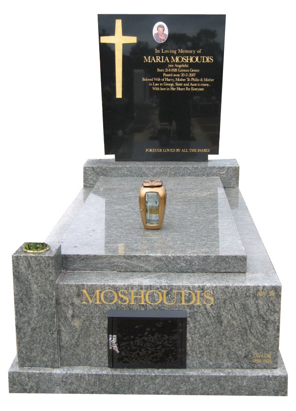 Memorial headstone over full monument in Oceanic Grey and Royal Black for Moshoudis at Springvale Botanical Cemetery.