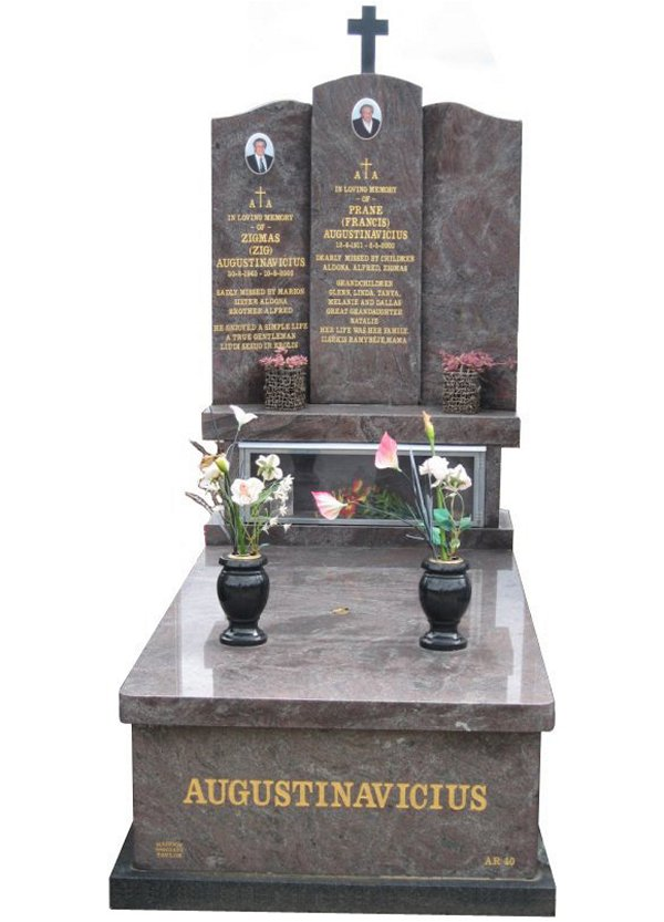 Memorial headstone over full monument in Paradiso and Royal Black for Augustinavicius at Springvale Botanical Cemetery