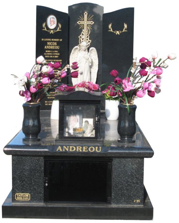Memorial headstone over full monument in Regal Black (Dark) and Royal Black for Andreou at Springvale Botanical Cemetery.