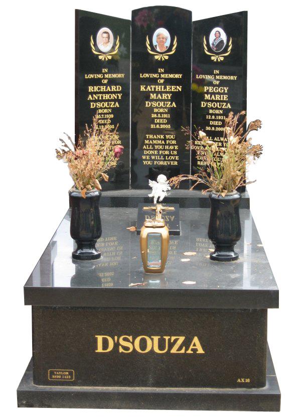 Memorial headstone over full monument in Regal Black (DarK) and Royal Black for D'Souza at Springvale Botanical Cemetery.