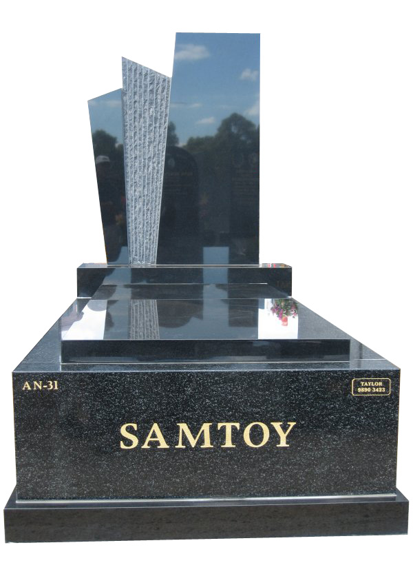 Memorial headstone over full monument in Regal Black (Dark) and Royal Black for Samtoy at Springvale Botanical Cemetery