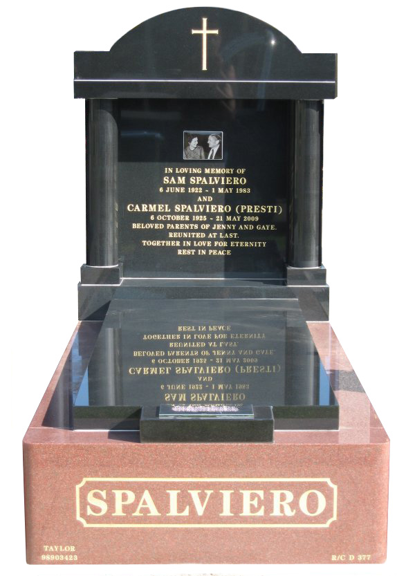 Memorial headstone over full monument in Sentinel Red and Royal Black for Spalviero at Werribee Cemetery.