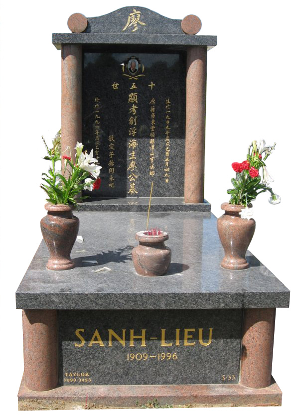 Memorial headstone over full monument in Steel Grey and Multicolor Red for Sanh-Lieu at Springvale Botanical Cemetery.