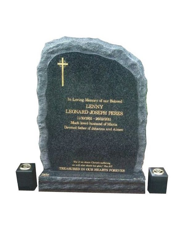 Natural rock carved granite headstone in regal black (light) granite for Peres at Lilydale cemetery