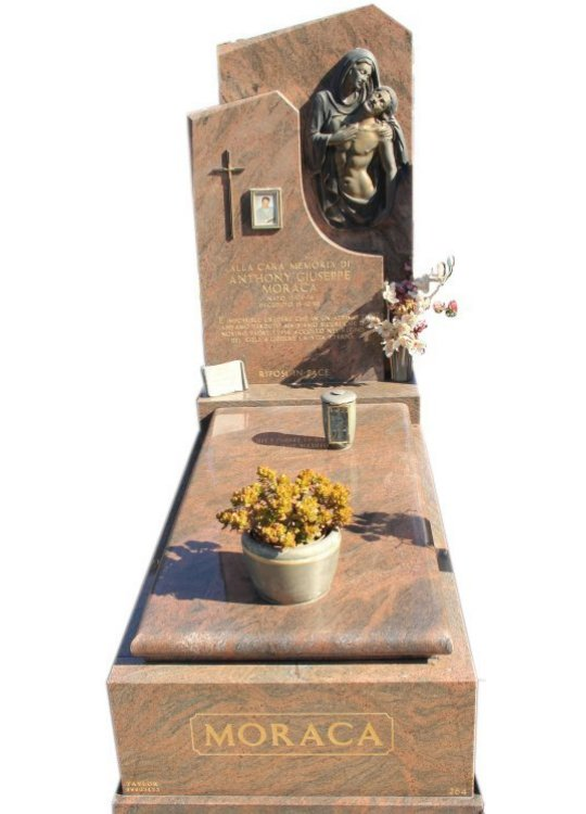 Tombstone built in Multicolour Red indian granite for Anthony Moraca in the Box Hill graveyard.