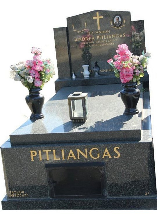 Tombstone, built in Regal Black (Dark) Indian granite for Pitliangas in the Box Hill graveyard.