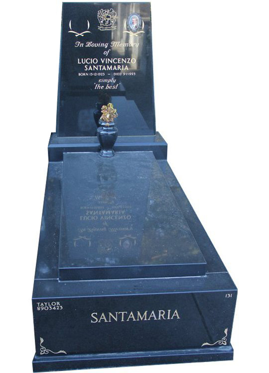 Tombstone, built in Royal Black Indian granite for Santamaria in the Box Hill graveyard.