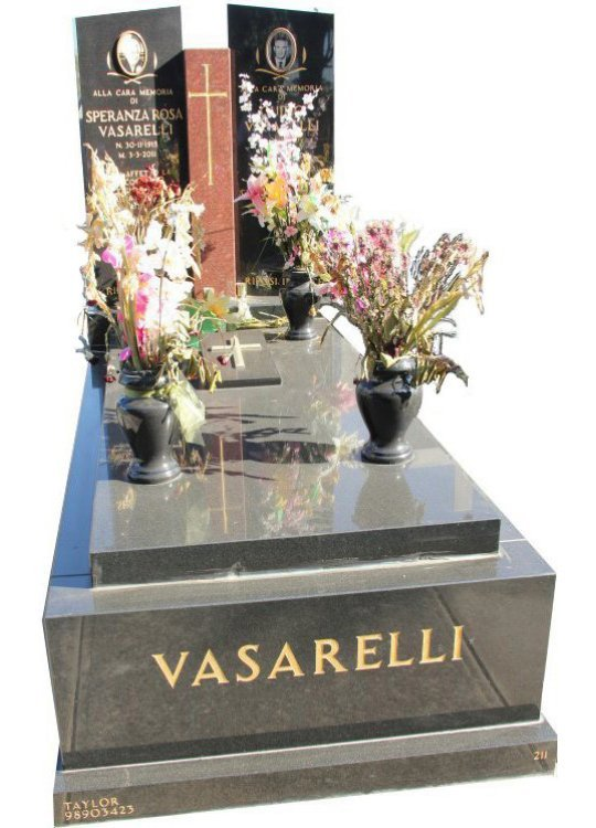 Tombstone, built in Ruby RedandRoyal Black Indian granite for Vasarelli in the Box Hill graveyard.
