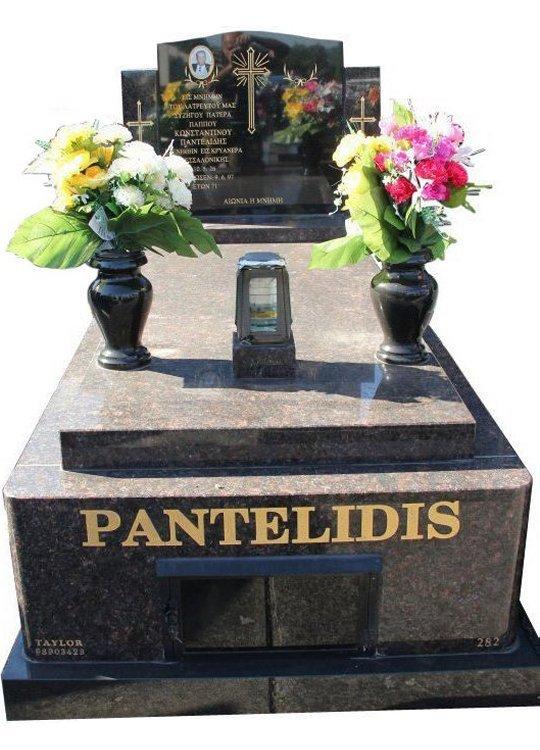 Tombstone, built in Tan Brown and Royal Black Indian granite for Pantelidis in the Box Hill graveyard.